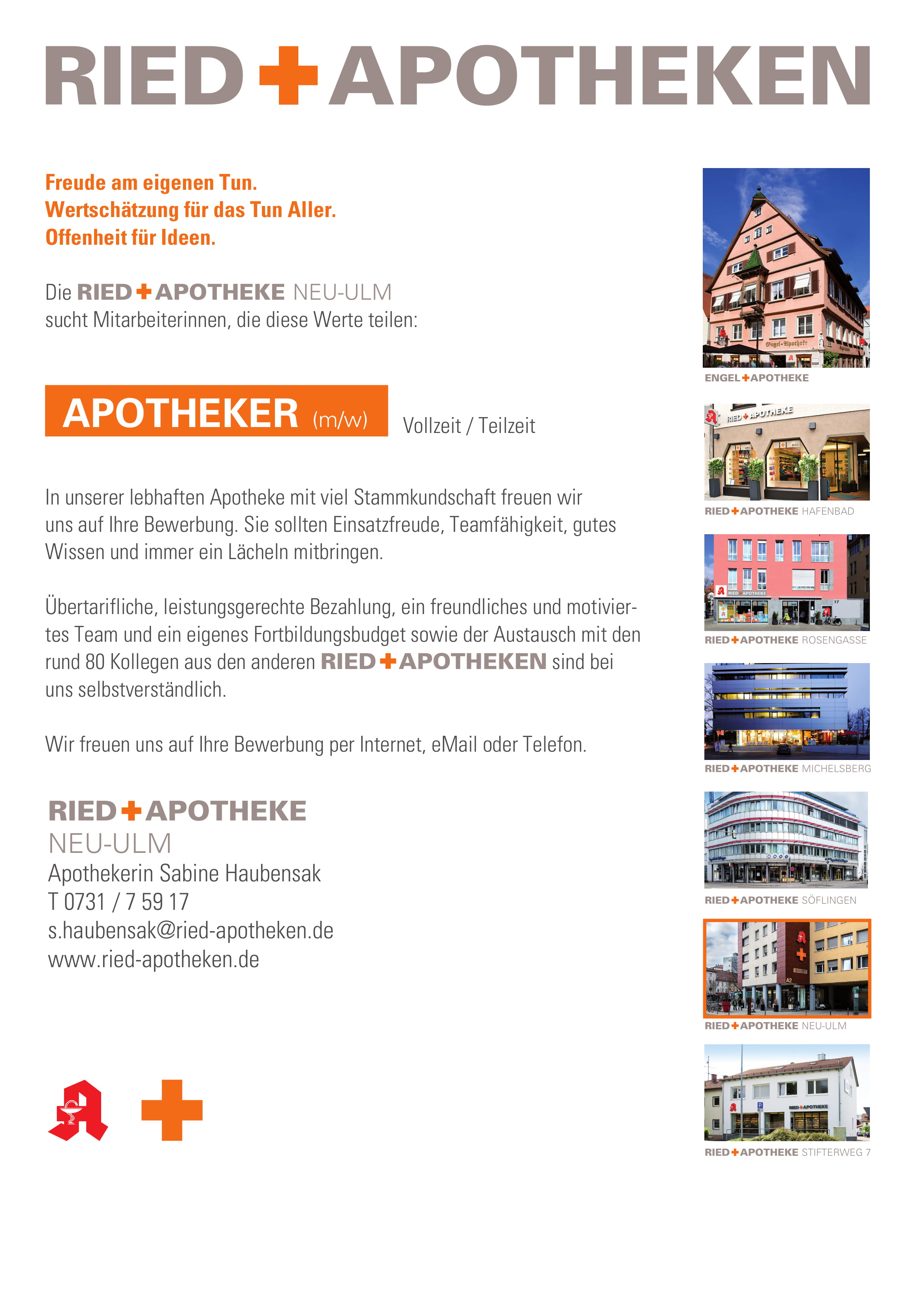 APOTHEKER/IN in der RIED + APOTHEKE NEU-ULM