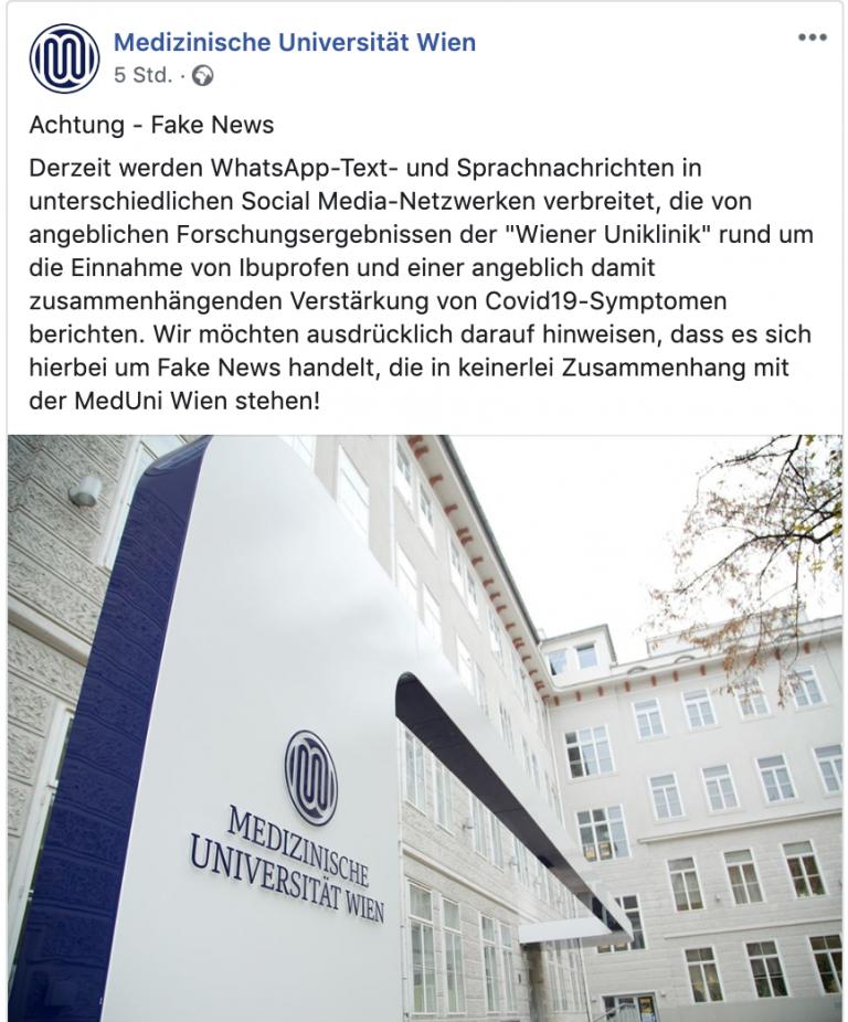 Corona Fake News Universität Wien